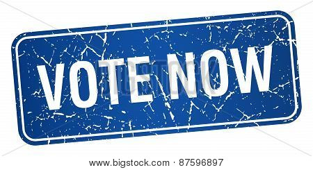 Vote Now Blue Square Grunge Textured Isolated Stamp