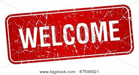 Welcome Red Square Grunge Textured Isolated Stamp