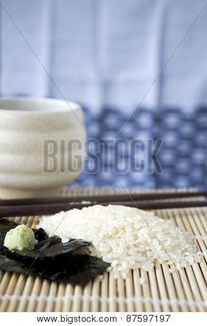 Japanese Rice On Mat