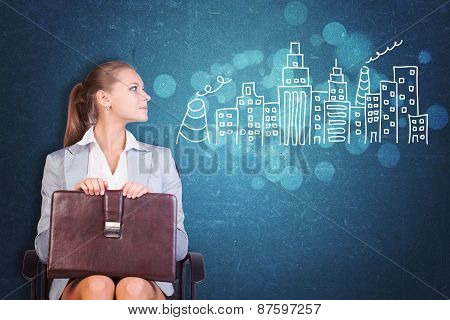 Businesswoman with Case next to Drawn City Skyline