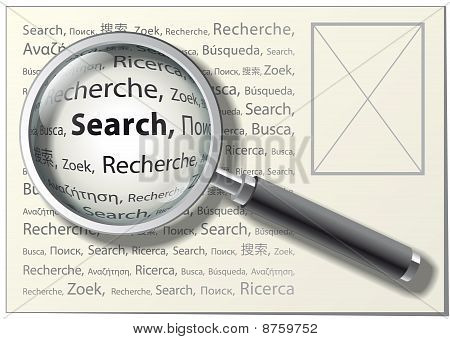 "Magnifying Glass. ""Search"" Word On Different Languages. Vector Illustration."