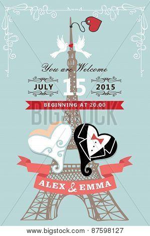 Wedding invitation.Eiffel tower,stylized heart