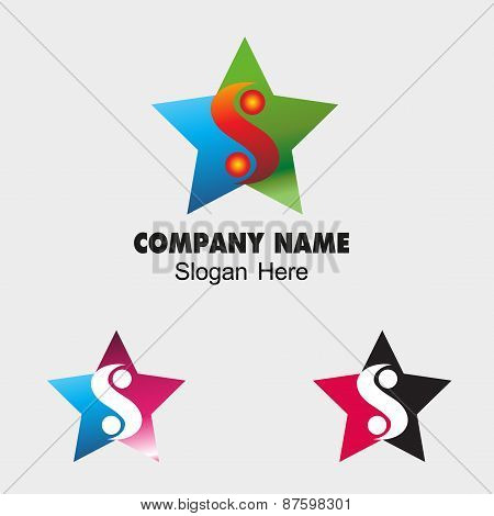 Ying yang icon with star symbol balance icon S letter sign