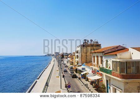 Larnaca main street. Sea promenade Cyprus island.