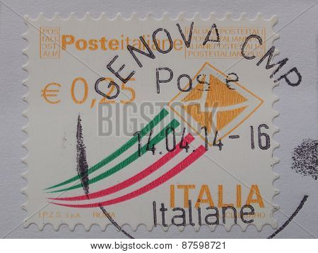 GENOA ITALY - CIRCA APRIL 2014: Italian stampo from Italy with postage meter from Genova (Genoa)