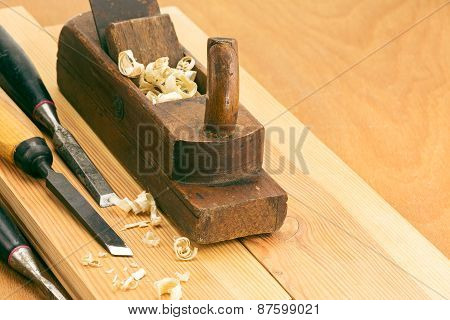 Old Wooden Plane And Chisels