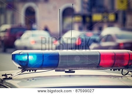 The Police Beacon By Car Gives Signals