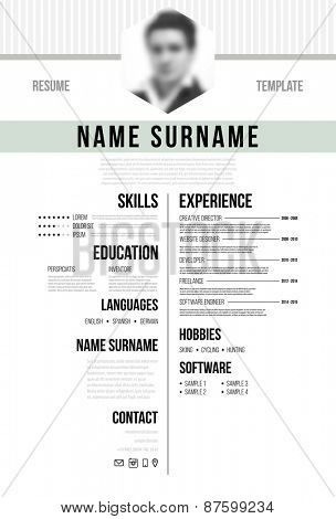 Cv, Resume Template. Minimalistic Style for Business Design. Blurred Avatar. Typographic Design.