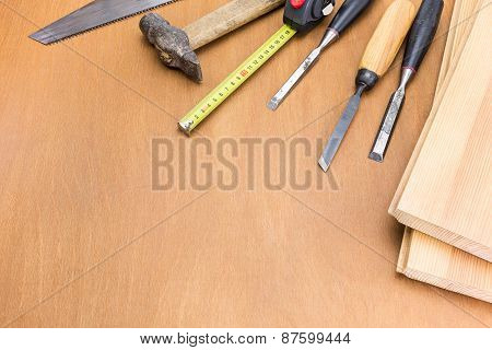 Carpenter Tools On Wood Table