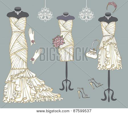 Tree white wedding dresses set