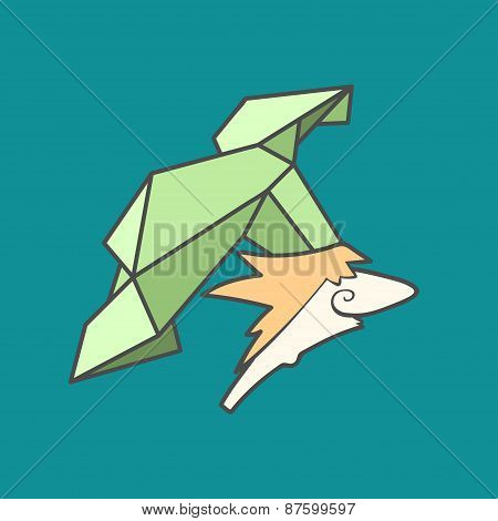 Flat vector icon of cute chef with hat from triangles