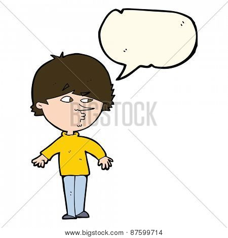 cartoon suspicious man looking over shoulder with speech bubble