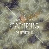 pic of wigwams  - Summer camping blurred background and seamless pattern - JPG