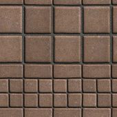 stock photo of slab  - Brown Paving Slabs Lined with Squares of Different Value and Rectangles - JPG