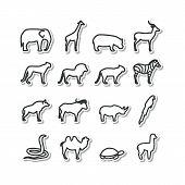 stock photo of mountain lion  - Set with icons  - JPG