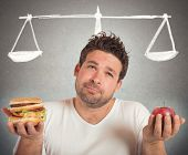 pic of obese man  - Man choosing between healthy food and unhealthy - JPG