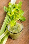 foto of celery  - Celery fresh in glass and celery stalks - JPG