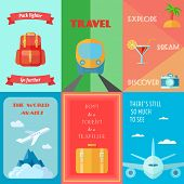 image of passport template  - Travel tourism and vacation mini poster set isolated vector illustration - JPG