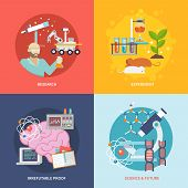 stock photo of experiments  - Science and research design concept set with experiment irrefutable proof future flat icons isolated vector illustration - JPG