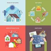 pic of social housing  - Energy saving house design concept set flat icons isolated vector illustration - JPG