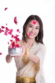 picture of sita  - Traditional costume of thailand and Songkran festival concept with white isolated background - JPG