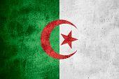 stock photo of algeria  - flag of Algeria or Algerian banner on rough pattern texture background - JPG