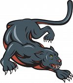 image of panther  - Cartoon style illustration of black panther big cat crouching set on isolated white background - JPG