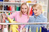 Постер, плакат: Saleswoman and customer choose clothes
