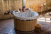 stock photo of washtub  - The old colored washtub with their old - JPG