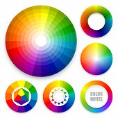 stock photo of color wheel  - Set of color wheels - JPG