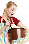stock photo of ladle  - Happy housewife or chef in colorful kitchen apron with pot of soup and ladle isolated studio shot - JPG