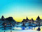 pic of surreal  - 3D illustration of surreal landscape with bright mountains and peaks reflected in the water and a  blue and yellow sky - JPG