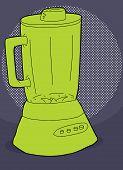 pic of blender  - Hand drawn green cartoon blender over blue background - JPG