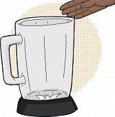 stock photo of blender  - Empty hand over empty glass blender jar - JPG