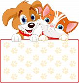 foto of droopy  - Cat and dog holding sign  - JPG