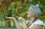 stock photo of beautiful senior woman  - Happy beautiful senior woman in the autumn park - JPG