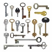stock photo of skeleton key  - Keys from door locks on a white background - JPG