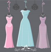 image of chandelier  - The composition of  three bridesmaid dresses with long skirt - JPG