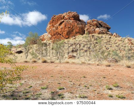 Deep red outback rock formation near Alice Springs