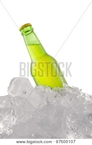 Green Beer Bottle In The Cold Ice Cube