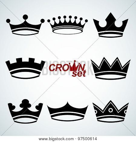 Business conceptual icons, can be used in graphic and web design. Set of vector vintage crowns