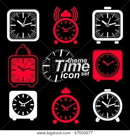 Vector 3d alarm clocks with clock bell, decorative wake up conceptual icons collection. Graphic
