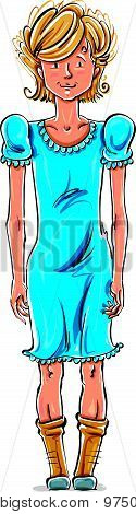 Vector full-length drawing of friendly Caucasian blond teenager. Bright cartoon hand-drawn