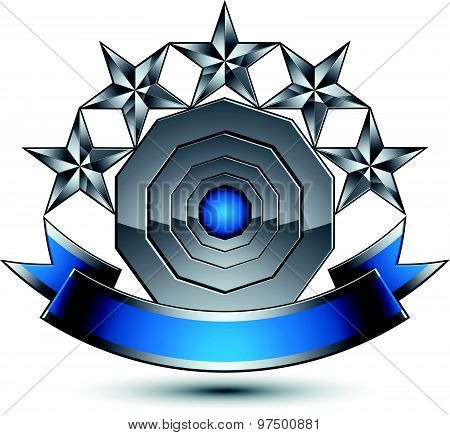 Silver geometric symbol with curvy ribbon, stylized silver pentagonal stars