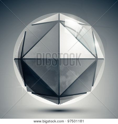 Three-dimensional sphere with flashes, sparkle dotted futuristic round structure.