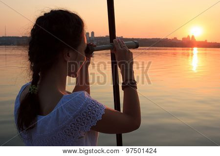 Girl Watching Spyglass