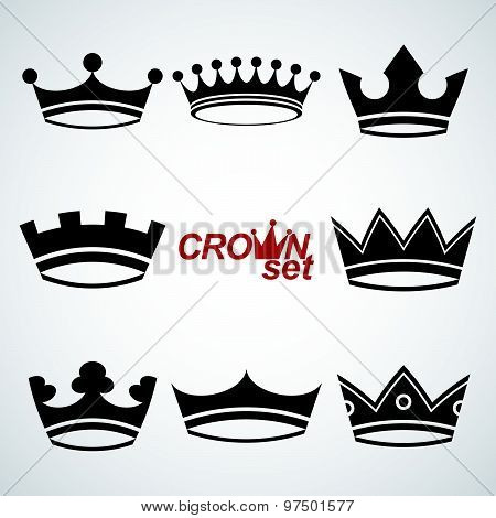 Set of 3d vector vintage crowns, luxury ornate coronet illustration. Collection of royal design elem