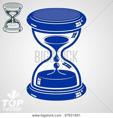 Eps8 high quality dimensional vector sand-glass, includes additional version. Antique 3d hourglass.