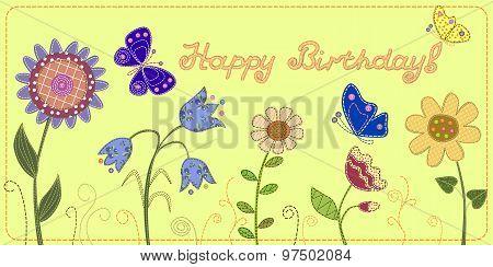 Happy Birthday card, patchwork imitation.
