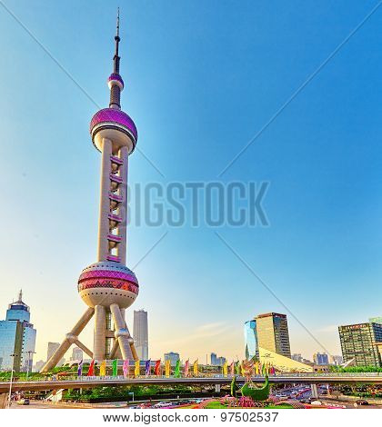 Shanghai-may 25, 2015. Oriental Pearl Tower On  Blue Sky Background. Tower  470 Meter The Oriental P